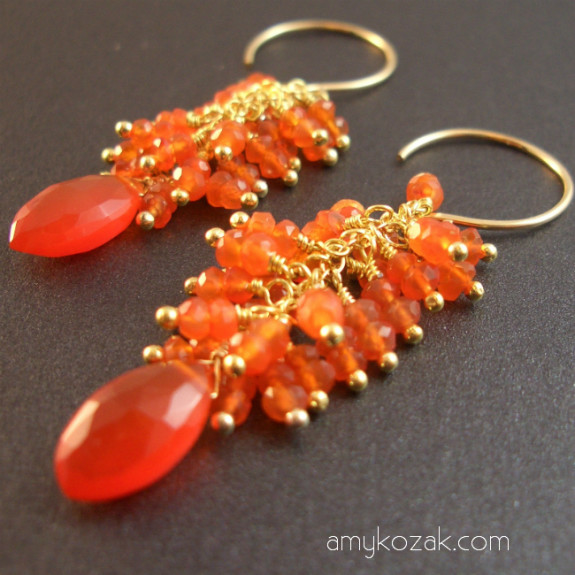 Carnelian Deco Drop Earrings